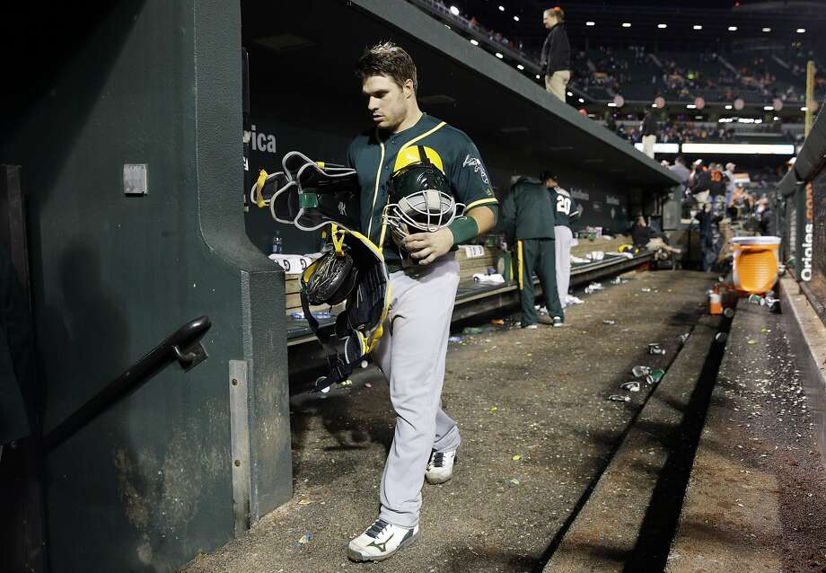 Oakland Athletics catcher Josh Phegley walks out of the dugout after the second baseball game of a doubleheader against the Baltimore Orioles in Baltimore, Saturday, May 7, 2016. Baltimore won 5-2. (AP Photo/Patrick Semansky) Photo: Patrick Semansky, Associated Press
