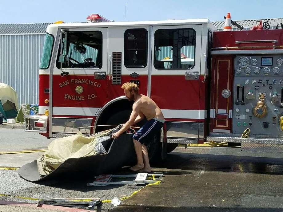 A fire broke out at a Potrero homeless encampment. Photo: Justin Alanis