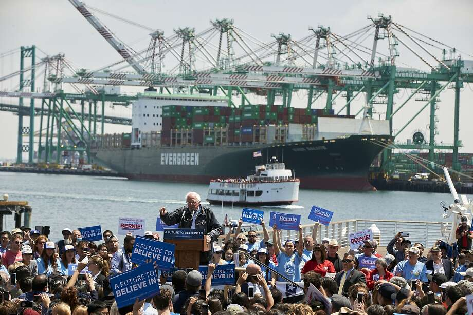 Democratic candidate Sen. Bernie Sanders speaks at a campaign rally Friday at the Port of Los Angeles. Party officials say appointments to convention committees did not violate party rules. Photo: Damian Dovarganes, Associated Press