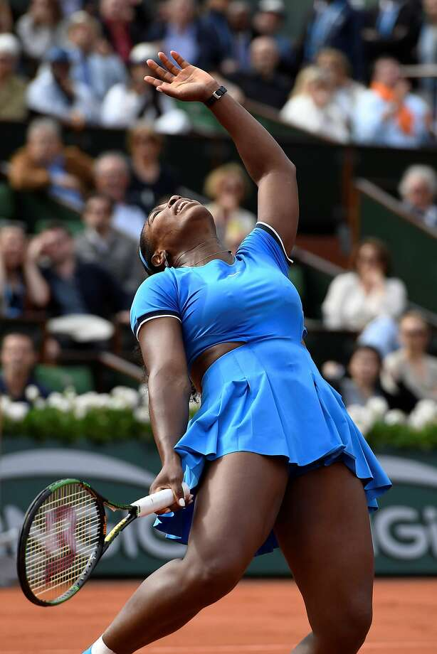 An exasperated Serena Williams needed a bit of coaching to get past France's Kristina Mladenovic. Photo: MIGUEL MEDINA, AFP/Getty Images