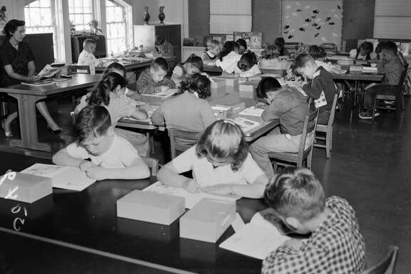 "Students at St. Mark's school in 1959 are said to have studied ""a public school curriculum"" in the preschool and elementary school sponsored by St. Mark's Episcopal Church."
