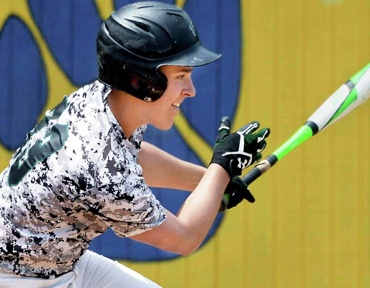 Schalmont's #33 Kyle Hirsch drives in a run against Hoosic Valley Saturday May 28, 2016 in Ballston Spa, NY. (John Carl D'Annibale / Times Union)