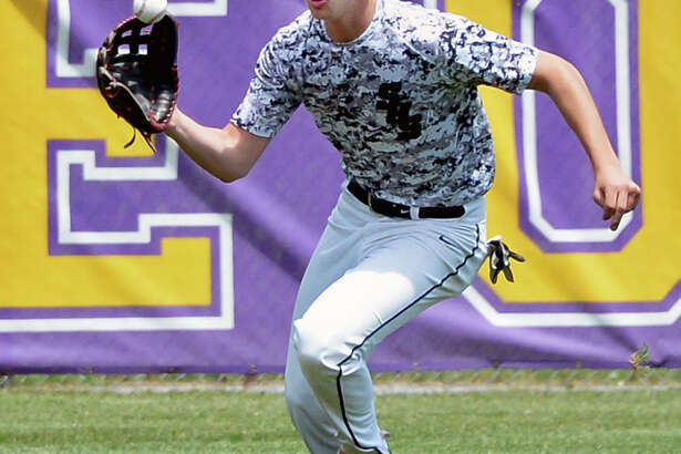 Schalmont's #25 Chris Hamilton fields a hit to centerfield during Saturday's game against Hoosic Valley May 28,  2016 in Ballston Spa, NY.  (John Carl D'Annibale / Times Union)