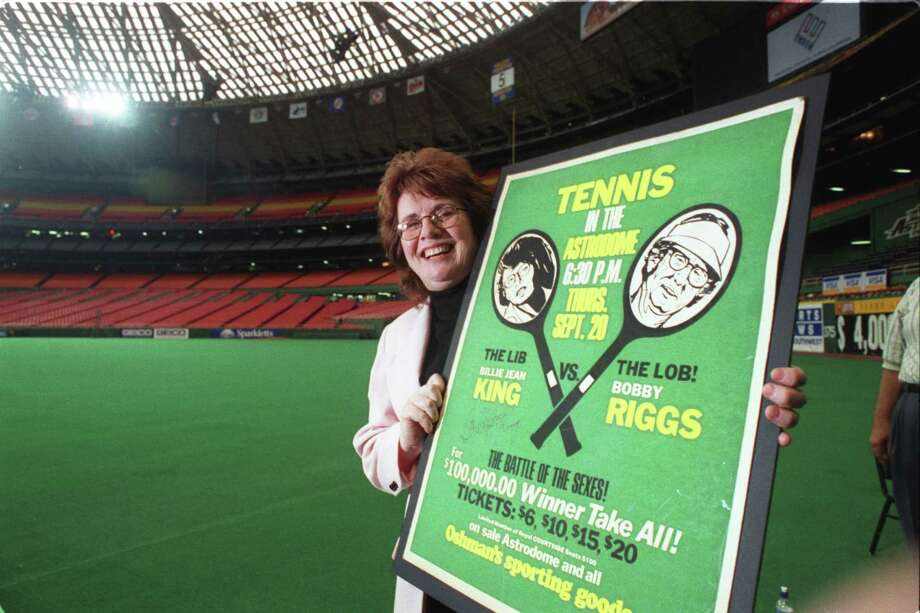 1998: Billie Jean King shows off a poster for the 'Battle of the Sexes,' her historic match against Bobby Riggs held in the Astrodome. Photo: Steve Campbell, HC Staff / Houston Chronicle