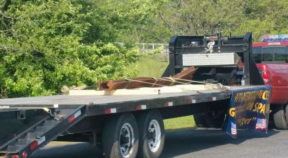 Steel beam remnants from the World Trade Center were brought to the Village of Ballston Spa recently to be made into a memorial later this year. (Photo courtesy of Ballston Spa Police Department) ORG XMIT: QWUNzOSGD7sNM_OGhVvj