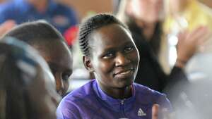 Emily Chebet of Kenya is one of the elite runners in attendance during a news conference for the Freihofer's Run for Women on Friday, May 29, 2015, at Taste in Albany, N.Y. (Cindy Schultz / Times Union)