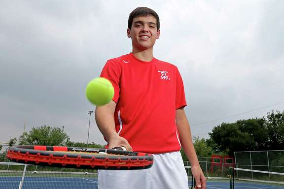 Antonian's Grant Meadows, posing at the school's courts, is the 2016 Express-News Boys Tennis Player of the Year.