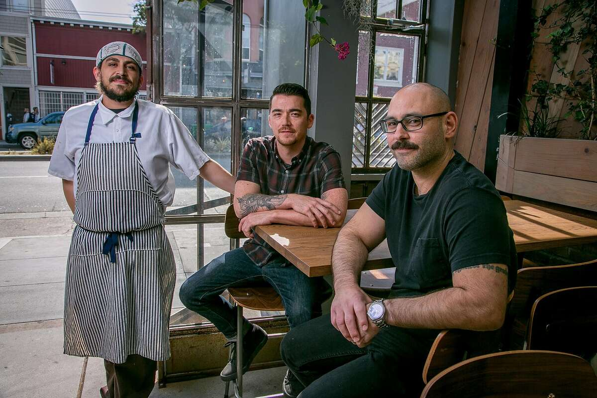 Left to right: Chef Ryan Chinchilla and bar guys Justin Lew and Ian Scalzo at Horsefeather in San Francisco, Calif., are seen on May 28th, 2016.