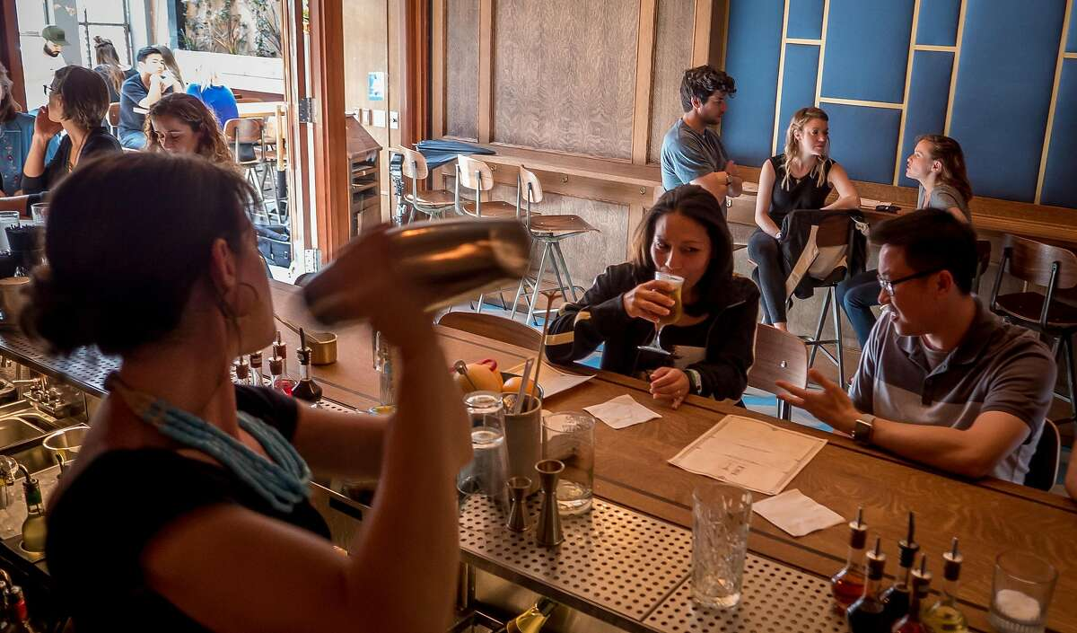 Bartender Nora Furst shakes a cocktail at Horsefeather in San Francisco, Calif., on May 28th, 2016.