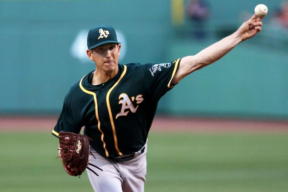 BOSTON, MA - MAY 11:  Eric Surkamp #48 of the Oakland Athletics delivers in the first inning during the game against the Boston Red Sox at Fenway Park on May 11, 2016 in Boston, Massachusetts.  (Photo by Adam Glanzman/Getty Images) Photo: Adam Glanzman, Getty Images