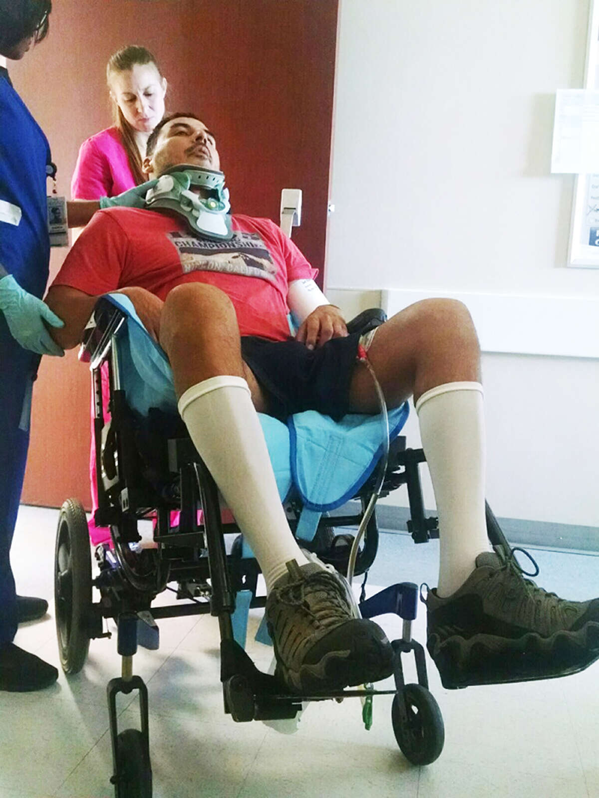 Roger Carlos received physical therapy in Houston for paralysis resulting from complications of surgery to relieve pain he suffered during the mistaken beating by San Antpnio Police Department officers.