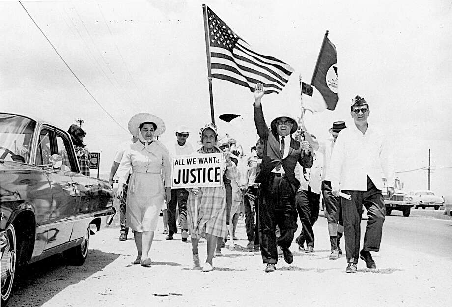 Members of the American G.I. Forum of Texas take part in the march to the Capitol in support of the United Farm Workers and minimum wage legislation for farmworkers. In 2016, the fight for living wages is as pitched as ever. Photo: /University Of Texas Press / handout