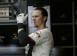 San Francisco Giants third baseman Matt Duffy (5) before a baseball game against the Colorado Rockies in San Francisco, Saturday, May 7, 2016. (AP Photo/Jeff Chiu)