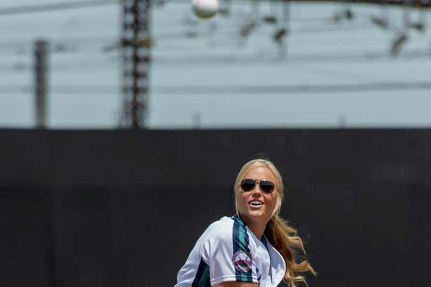 Softball star Jennie Finch was the guest-manager for the Bridgeport Bluefish for their game Sunday against the Southern Maryland Blue Crabs at The Ballpark at Harbor Yard in Bridgeport. She also threw out the cermonial first pitch. The Bluefish won 3-1.