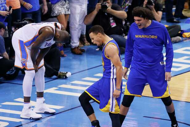 Golden State Warriors guard Stephen Curry (30) and forward Anderson Varejao (18) celebrate as Oklahoma City Thunder forward Serge Ibaka (9) reacts during the second half in Game 6 of the NBA basketball Western Conference finals in Oklahoma City, Saturday, May 28, 2016. The Warriors won 108-101.