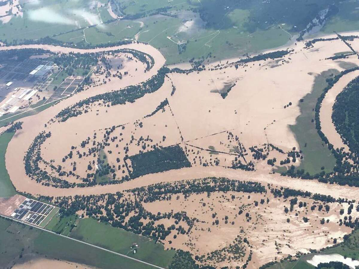 A photo taken by astronaut Terry Virts during a flight in a T-38 shows the flooded Brazos River on Saturday.