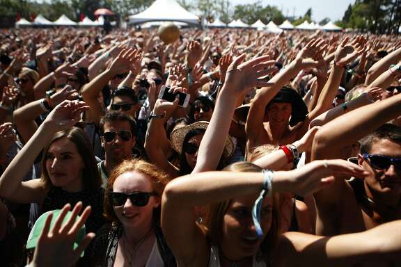 Crowds reacts as the X Ambassadors perform at BottleRock 2016 in Napa, Calif. on Sunday, May 29, 2016.
