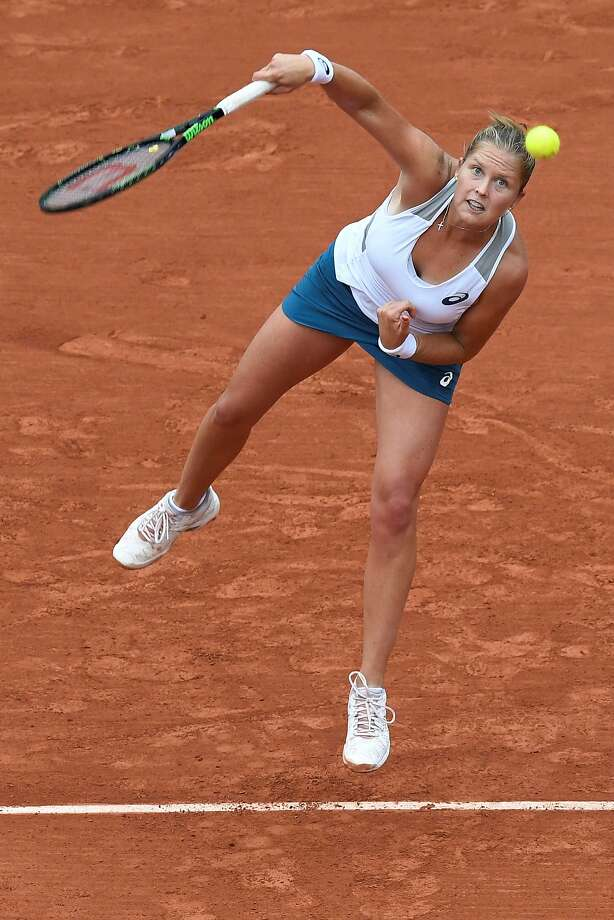 Shelby Rogers serves against Romania's Irina Begu on her way to winning the fourth round match at the Roland Garros. Photo: MIGUEL MEDINA, AFP/Getty Images