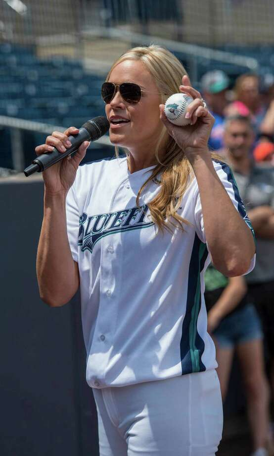 The Bridgeport Bluefish with softball star Jennie Finch as guest manager against the Southern Maryland Blue Crabs during a baseball game played at the Ballpark at Harbor Yard, Bridgeport, CT on Sunday, May 29, 2016. Photo: Mark Conrad / For Hearst Connecticut Media / Connecticut Post Freelance