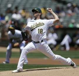 Oakland Athletics pitcher Rich Hill  works against the Detroit Tigers in the first inning of a baseball game Sunday, May 29, 2016, in Oakland, Calif. (AP Photo/Ben Margot)