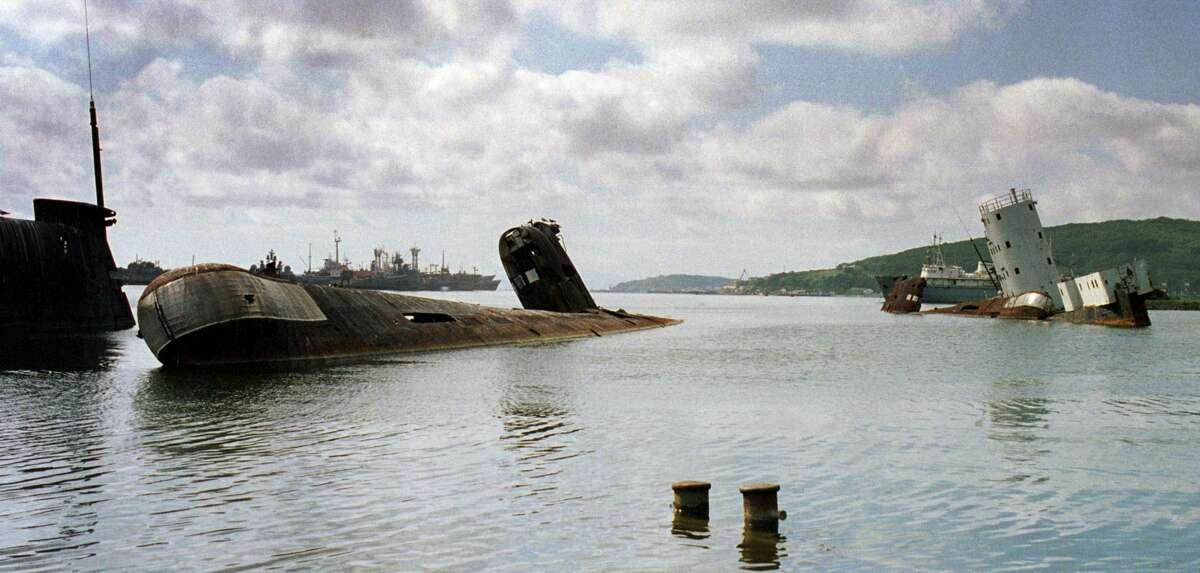 """The """"submarine cemetery"""" in Vladivostok, Russia circa 2000."""
