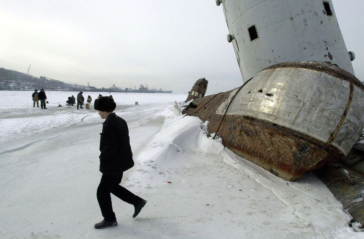"The ""submarine cemetery"" in Vladivostok, Russia in 2001."