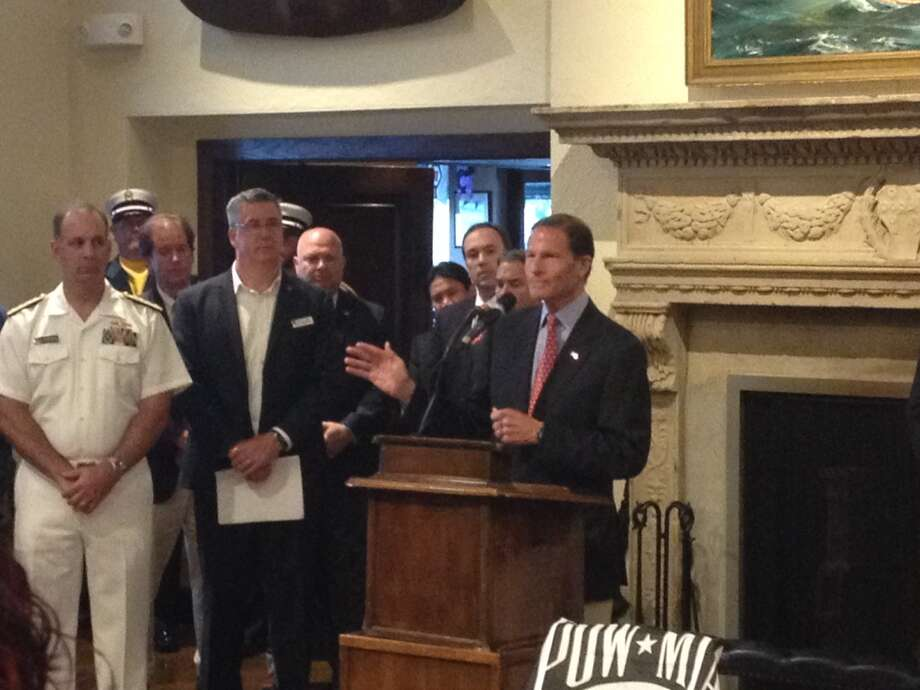 U.S. Sen. Richard Blumenthal makes a point about veterans' health-care services at a Memorial Day gathering. Photo: / Hearst Media / Robert Marchant