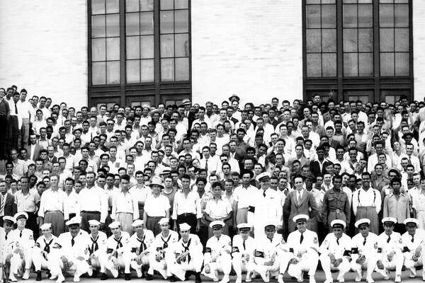The Houston Volunteers on Memorial Day, May 30, 1942, outside the Music Hall/Sam Houston Coliseum.