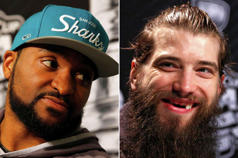 Former Houston Aeros Joel Ward (left) and Brent Burns have played key roles in the San Jose Sharks advancing to this year's Stanley Cup Final against the Pittsburgh Penguins.Click through the gallery to see the other Aeros players who went on to win the Stanley Cup after playing in Houston.