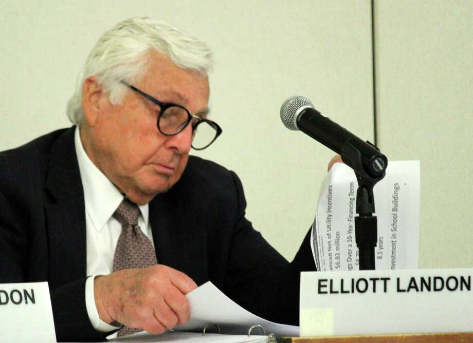 Superintendent of Schools Elliott Landon reviews details of a proposed energy-conservation project for school and town buildings -- with a price tag of nearly $8.4 million and long-term savings of $8.7 million -- at Monday's Board of Education meeting. Photo: Westport News / Chris Marquette / Westport News