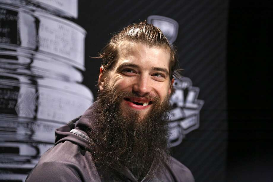 San Jose Sharks' Brent Burns talks to reporters during Stanley Cup Finals Media Day at the Consol Energy Center in Pittsburgh, Sunday May 29, 2016. The Sharks face-off in Game 1 of the Stanley Cup Finals against the Pittsburgh Penguins on Monday, May 30, in Pittsburgh. (AP Photo/Gene J. Puskar) Photo: Gene J. Puskar, Associated Press