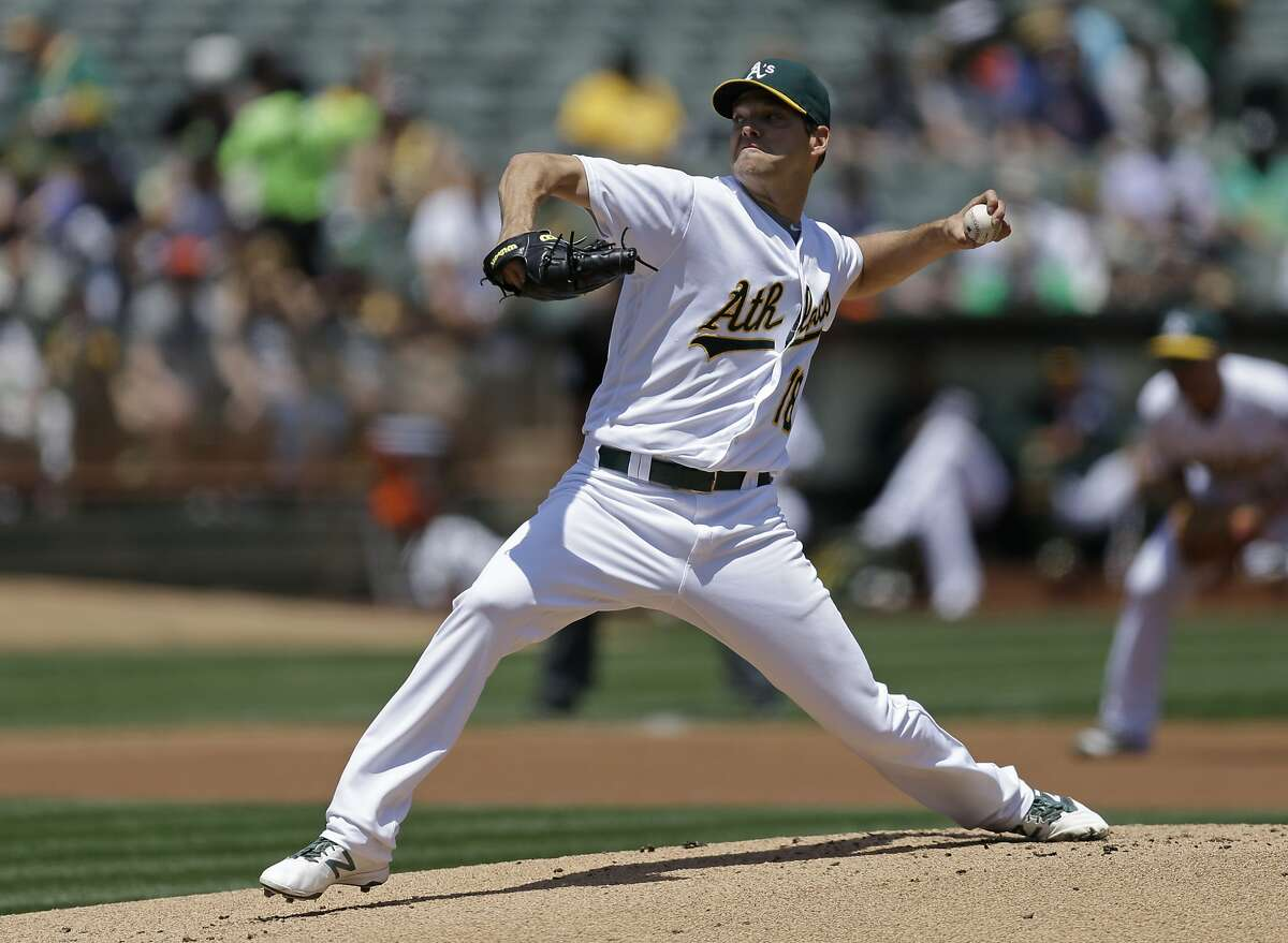 Oakland Athletics pitcher Rich Hill works against the Detroit Tigers in the first inning of a baseball game, Sunday, May 29, 2016, in Oakland, Calif. (AP Photo/Ben Margot)