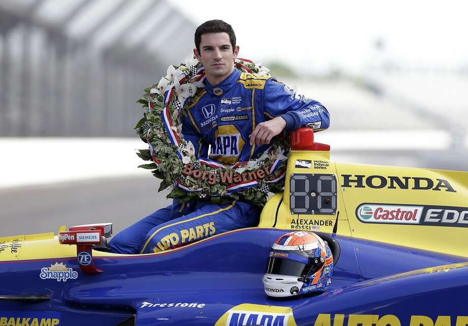 Indianapolis 500 champion Alexander Rossi of Nevada City poses during the traditional winners photo Monday. Photo: Michael Conroy, Associated Press