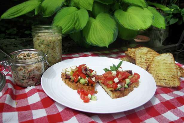 Jarred salmon and white bean salads, as well as chopped greek salad, make superb bruschetta toppings for a summer picnic.