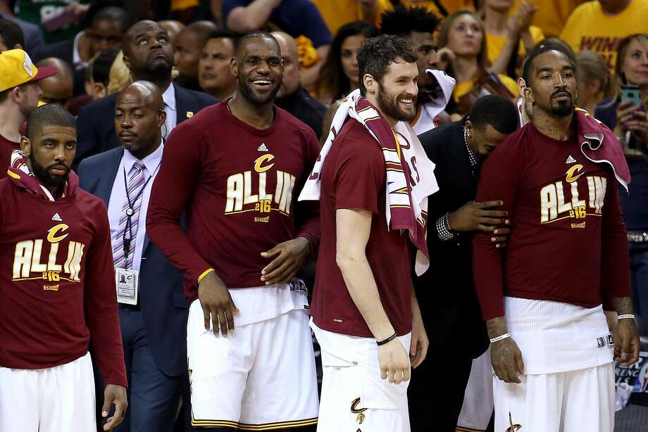 LeBron James (left), Kevin Love and the rest of the Cavaliers came together after a hotel room meeting in New York in March. Photo: Andy Lyons, Getty Images