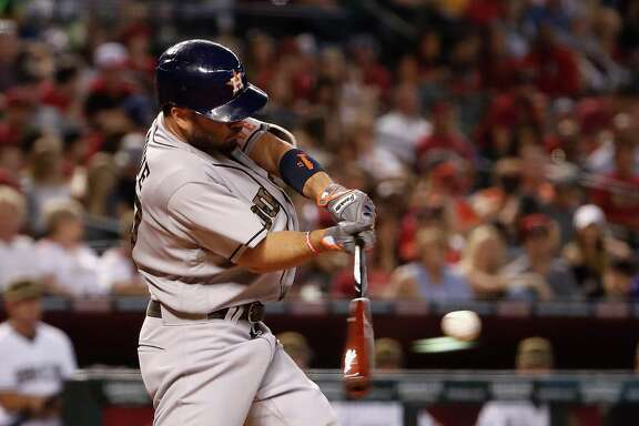 PHOENIX, AZ - MAY 30:  Jose Altuve #27 of the Houston Astros hits a RBI triple against the Arizona Diamondbacks during the fourth inning of the MLB game at Chase Field on May 30, 2016 in Phoenix, Arizona.
