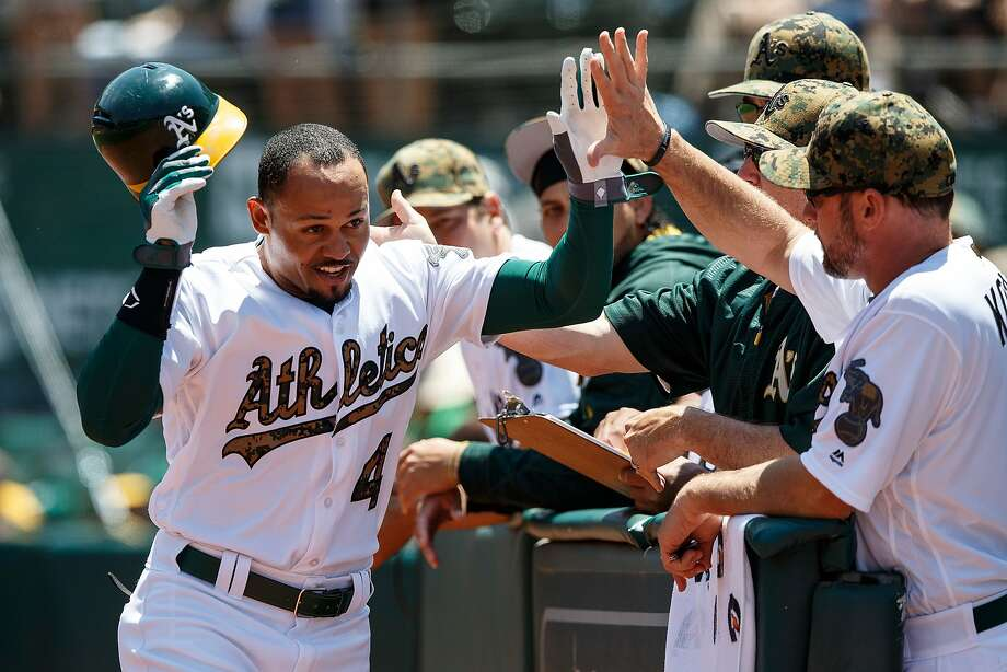 OAKLAND, CA - MAY 30:  Coco Crisp #4 of the Oakland Athletics is congratulated by teammates after hitting a home run against the Minnesota Twins during the first inning at the Oakland Coliseum on May 30, 2016 in Oakland, California. (Photo by Jason O. Watson/Getty Images) Photo: Jason O. Watson, Getty Images