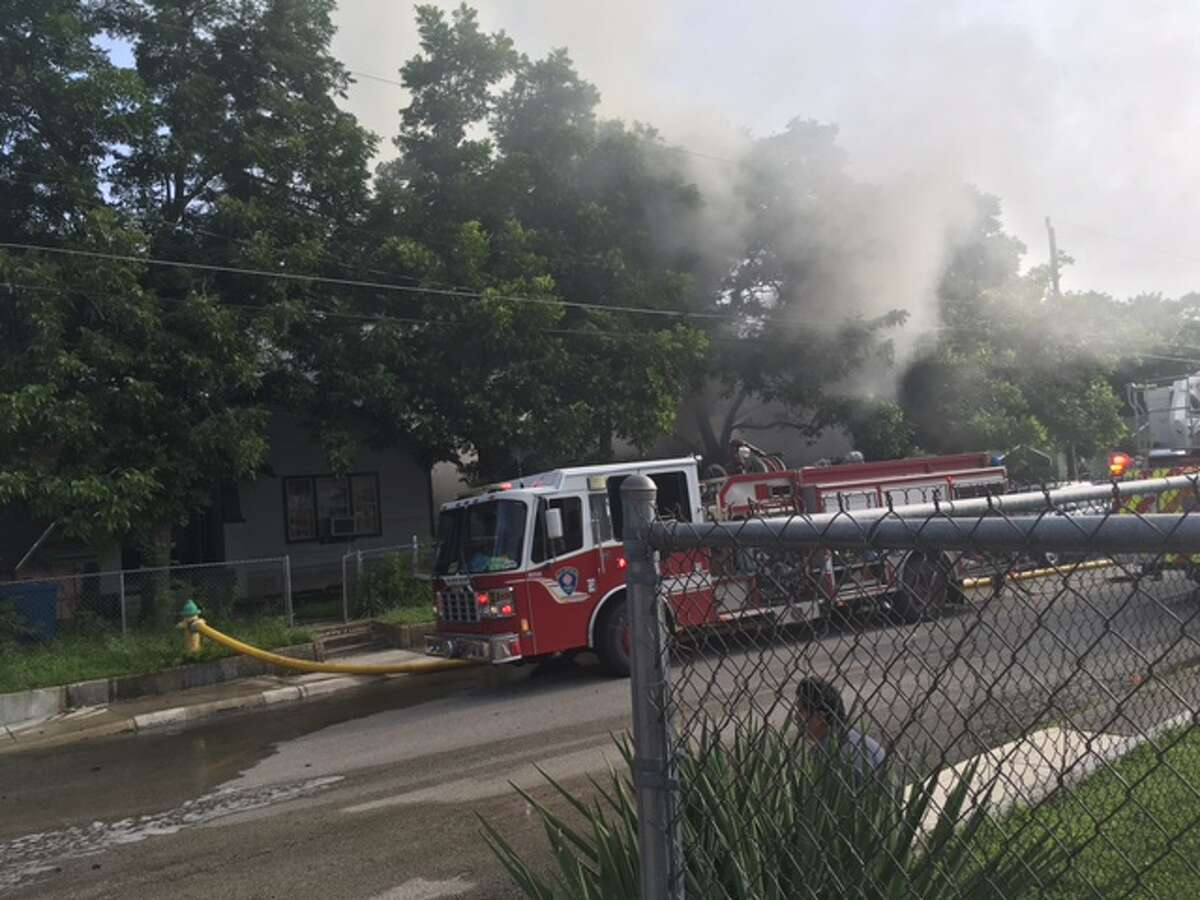 Smoke could be seen in the 400 block of Humboldt on San Antonio's southside early Monday evening.