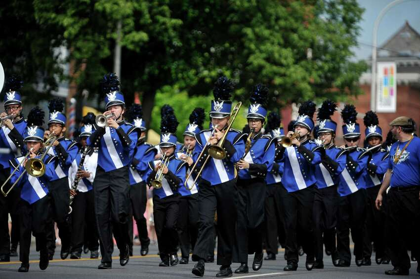 Members of the Albany Marching Falcons perform as they head down Central Ave. during the Albany Memorial Day Parade on Monday, May 30, 2016, in Albany, N.Y. (Paul Buckowski / Times Union)