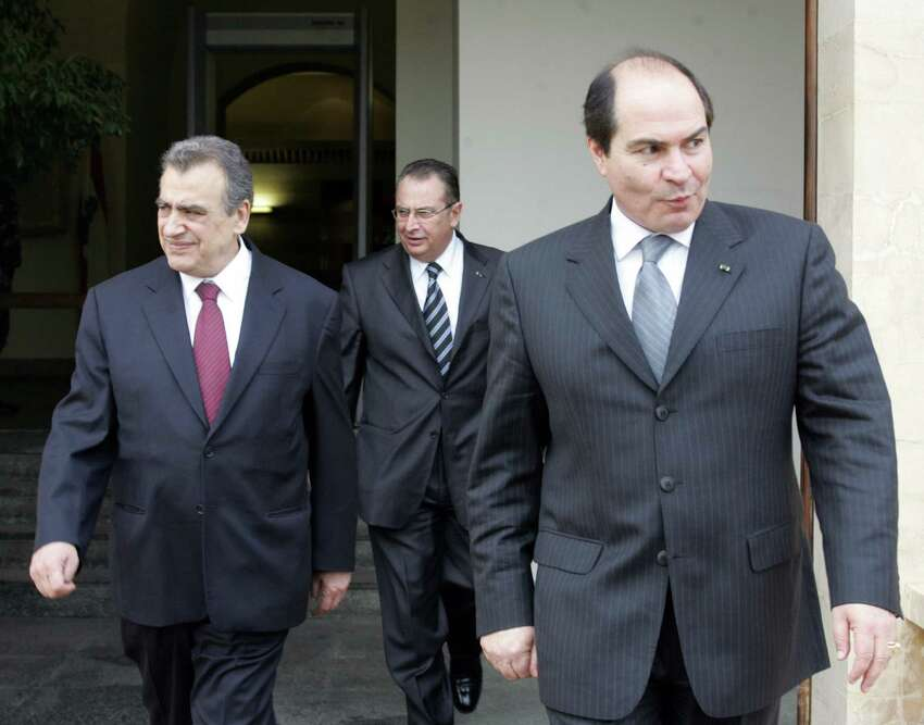 BEIRUT, LEBANON: Lebanese Foreign Minister Mahmud Hammud (L) escorts his Jordanian counterpart Hani al-Mulki (R) in 2005. JOSEPH BARRAK/AFP/Getty Images