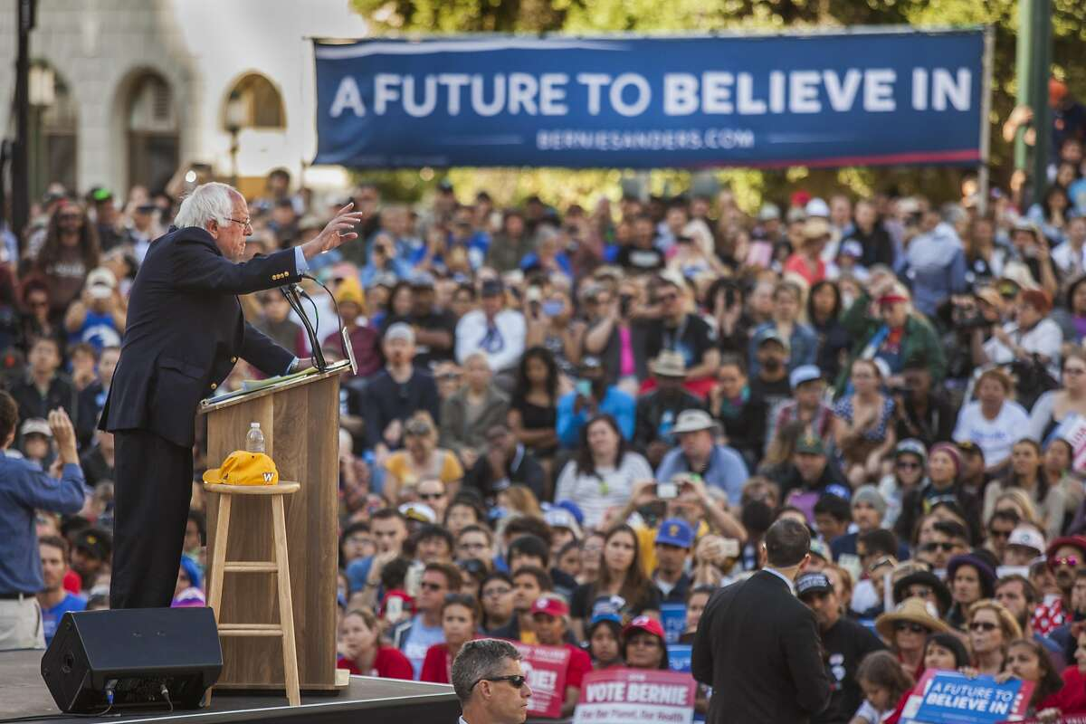 The Democratic Party 2016 presidential candidate, Senator Bernie Sanders addresses supporters during a campaign event at Frank Ogawa Plaza in Oakland, California, USA 30 May 2016.