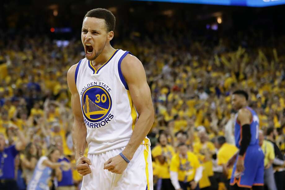 Stephen Curry #30 of the Golden State Warriors reacts in the third quarter of Game Seven of the Western Conference Finals against the Oklahoma City Thunder during the 2016 NBA Playoffs at ORACLE Arena on May 30, 2016 in Oakland, California. Photo: Ezra Shaw, Getty Images