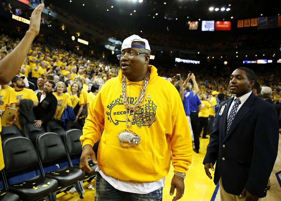 Rapper E-40 leaves Oracle Arena after the Warriors won Game 7 of the Western Conference finals against the Oklahoma City Thunder in Oakland, California, on Monday, May 30, 2016. Photo: Connor Radnovich, The Chronicle