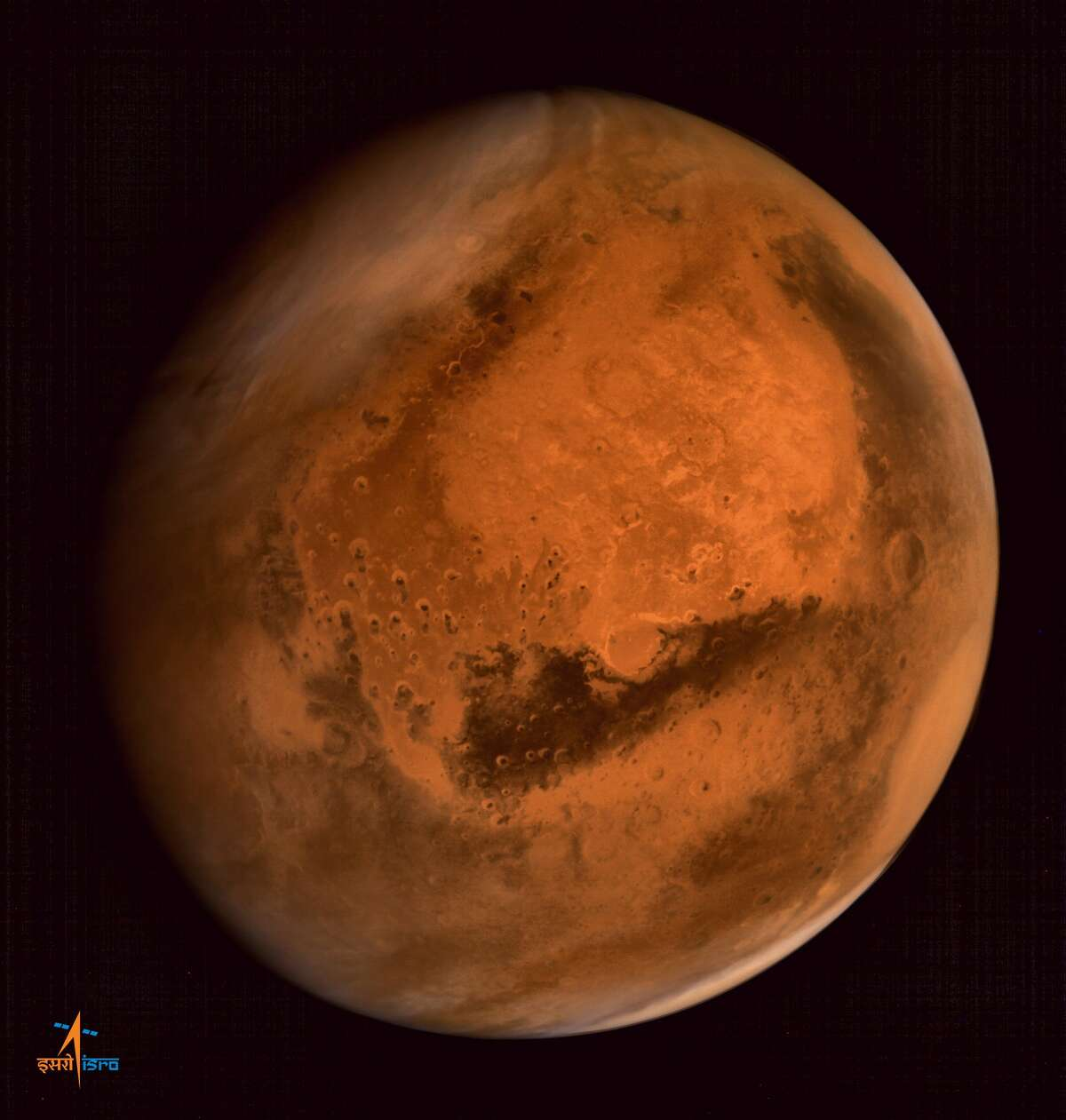 """This file handout photograph received from the Indian Space Research Organisation (ISRO) on September 30, 2014, shows the planet Mars in an image taken by the ISRO Mars Orbiter Mission (MOM) spacecraft. A multi-billion-dollar robot dispatched to Mars to search for life must steer clear of promising """"hot spots"""" for fear of spreading microbes from Earth, NASA project scientists said October 1, 2015. AFP PHOTO / ISRO"""