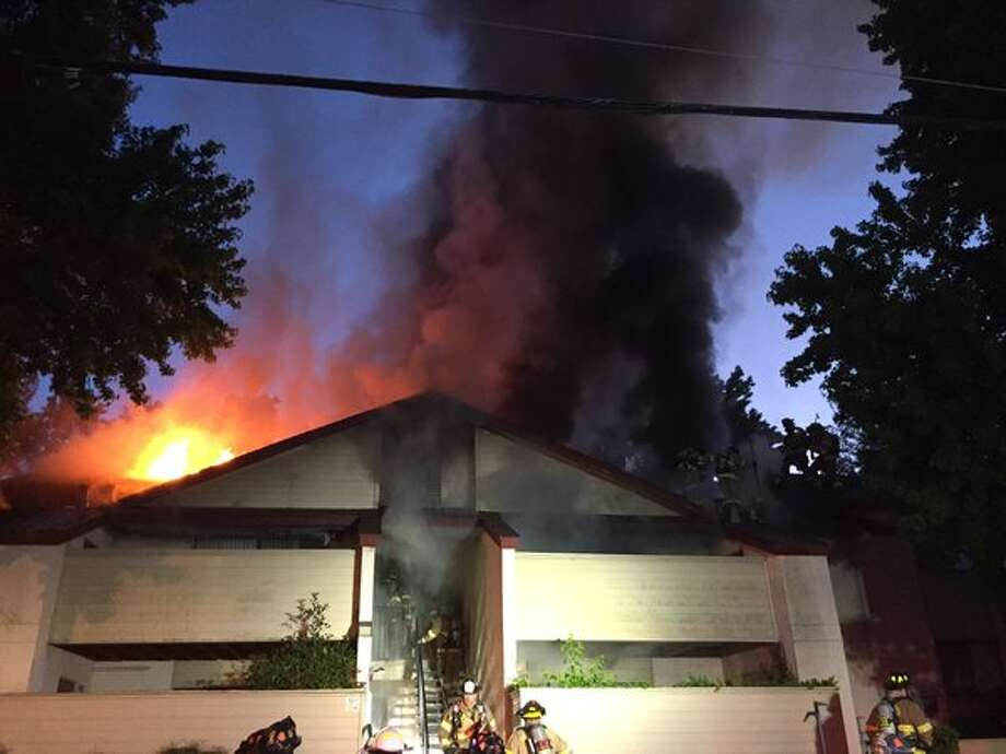 A fire gutted four apartments at a complex in Martinez on Tuesday. Photo: Contra Costa County Fire Protection District