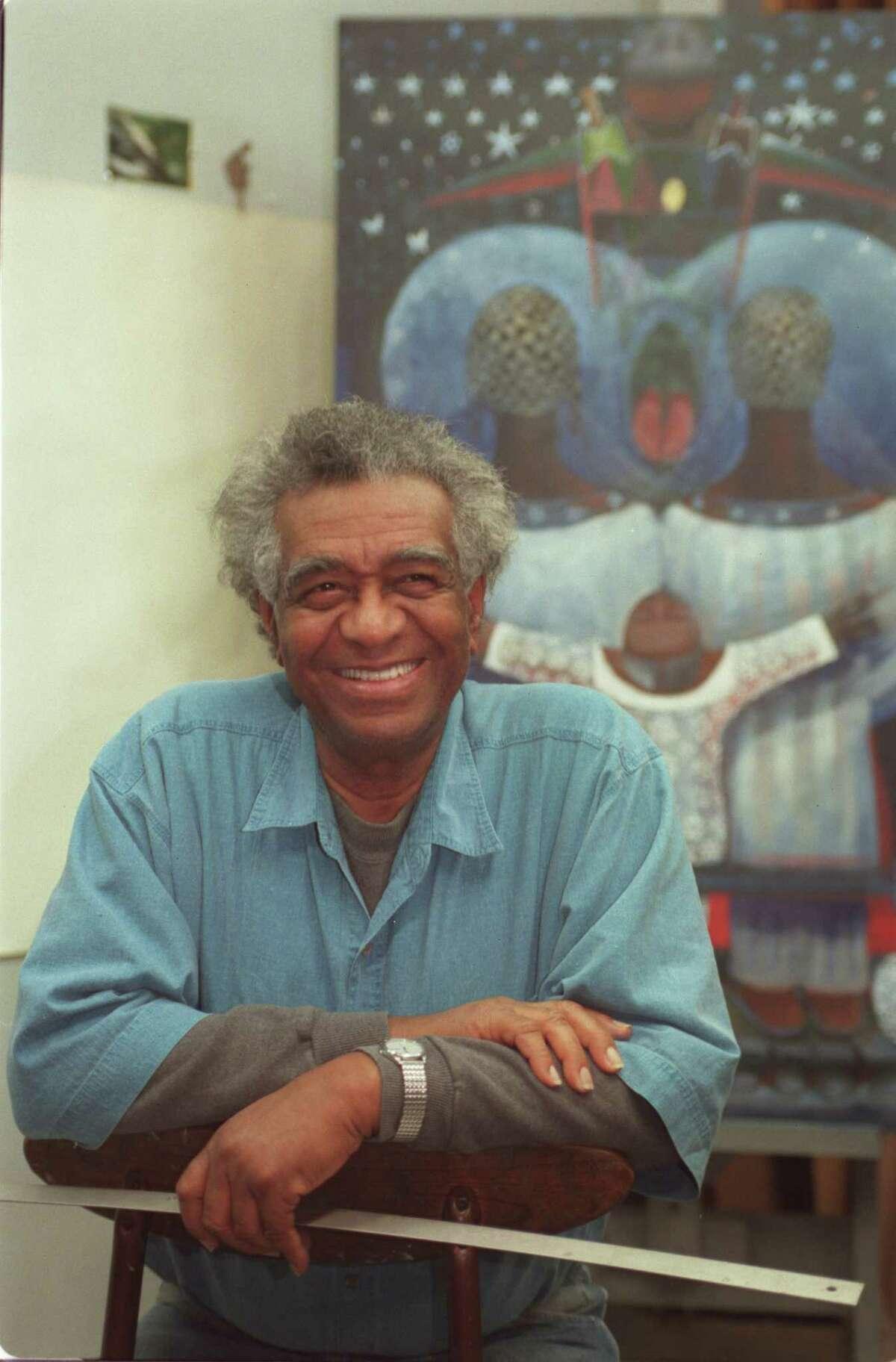 Artist John Biggers in his studio in 1997.