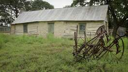 The restored log cabin at Heidemann Ranch, located in northwest Bexar County, in 2016.