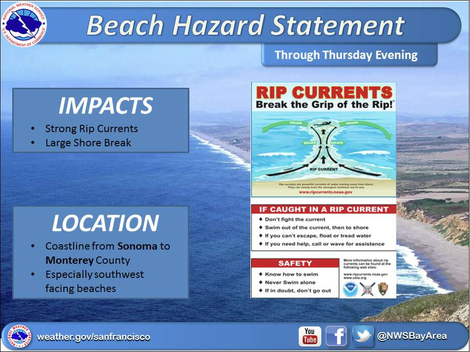 As a southerly swell hits Northern California, NOAA officials are warning beach-goers to swim in the ocean with caution. Swimmers should be especially wary at beaches facing southwest including Stinson, Santa Cruz Boardwalk and Twin Lakes beaches.  Photo: NOAA