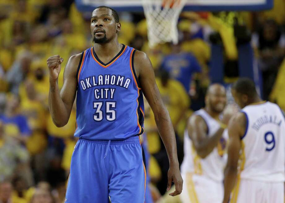 ON THE MOVE?Kevin Durant, Thunder. Unrestricted.2015-16 Salary: $20,158,622From a financial standpoint, the wisest move for Durant is to re-sign with OKC for a year with a player option for 2017-18 before hitting the market again once the salary cap is above $100 million. Since the Thunder came within one game of the NBA Finals, it might be the most prudent basketball decision, too.Reasons he will stay: Russell Westbrook; Was up 3-1 on the Warriors before letting it slip away; OKC has become his adopted hometown; no better chance to win anywhere elseReasons he will go: After nine years, the need for a fresh start; head to the Eastern Conference to get out of the rugged West. Photo: Marcio Jose Sanchez, Associated Press / AP