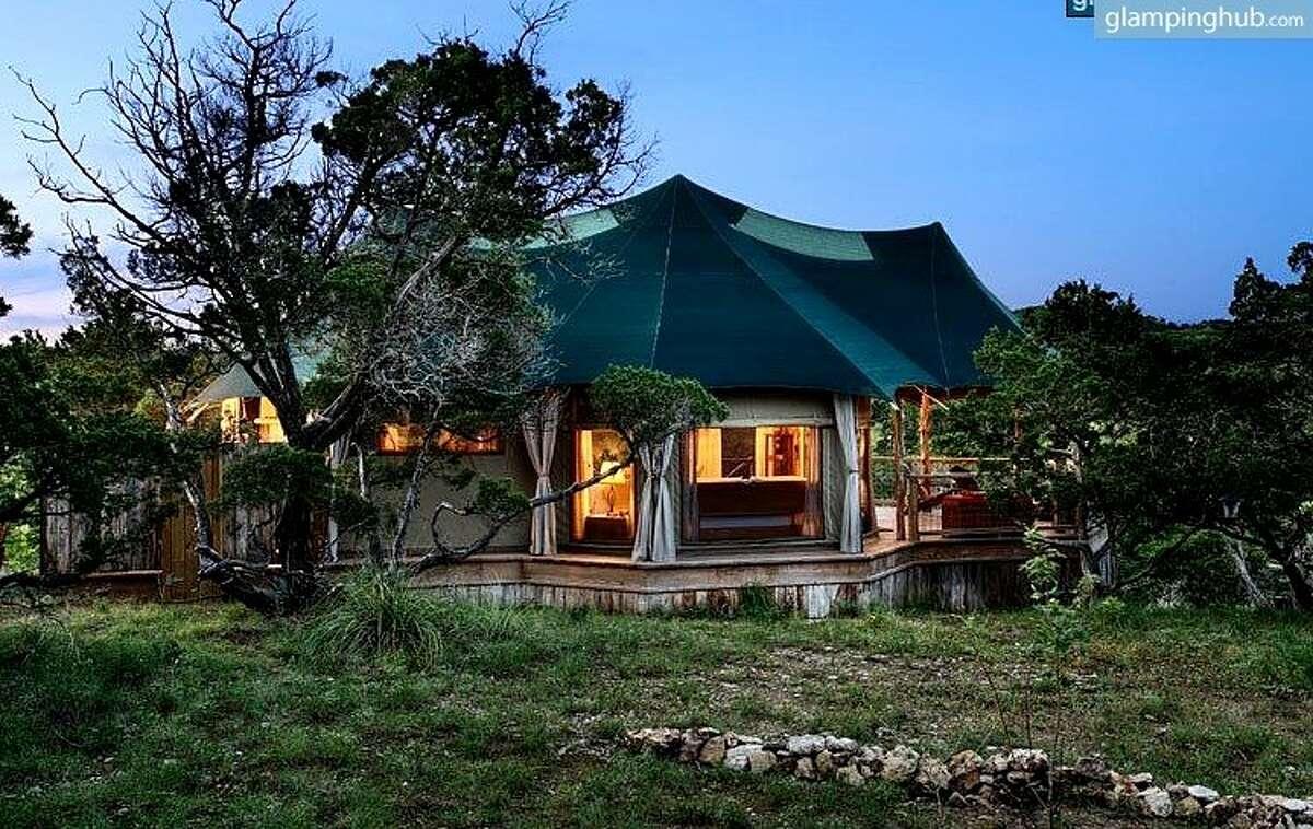 Romantic safari tent perched high atop a ridge in precious Hill Country, TexasHill Country region, Texas